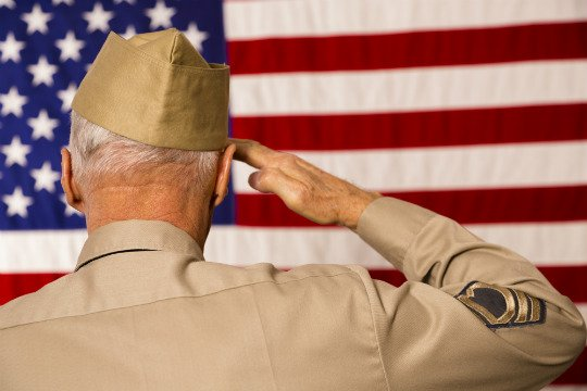 Photo of War Veteran Saluting American Flag